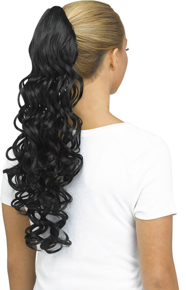 Fun World Unicorn Curly Black Pigtail Costume Wig Pig Tail Ponytail Curls