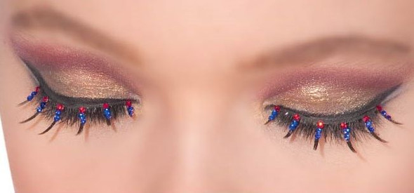 Patriotic Eyelashes USA 4th July Fake Lashes Rhinestones Adult Costume Accessory