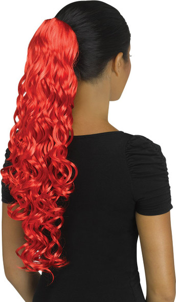 Fun World Unicorn Curly Red Pigtail Costume Wig Pig Tail Ponytail Curls