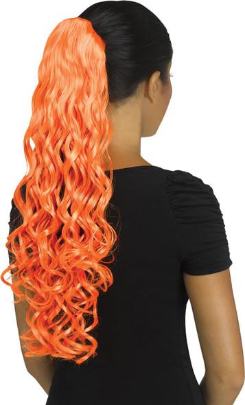 Fun World Unicorn Curly Orange Pigtail Costume Wig Pig Tail Ponytail Curls