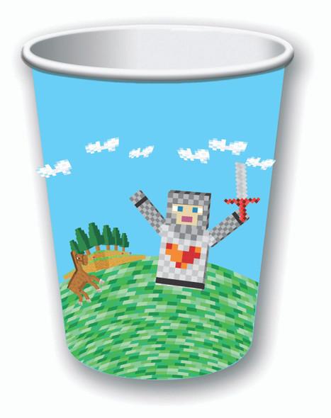 Medieval Virtual Block Beverage Cups Birthday Party Decor Tableware 8pc/pk