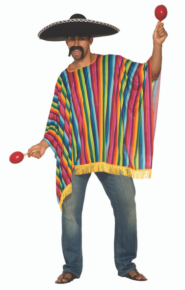 Mexican Serape Adult Unisex Poncho Blanket Costume One Size Cinco De Mayo