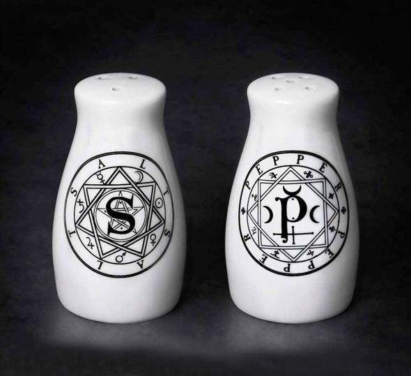 Alchemy of England Sacred Geometry Salt and Pepper Shakers Set Ceramic Halloween