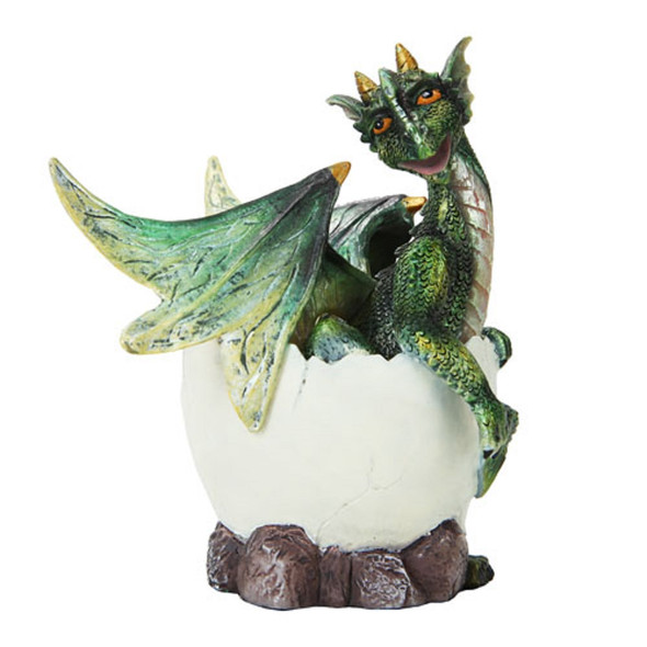 Green Baby Dragon Hatchling Egg Quality Resin Figurine Statue Home Decoration