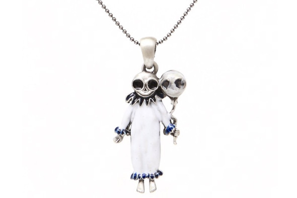 Clown Skelly Girl Pewter Necklace Pendant It Skeleton Jewelry Women