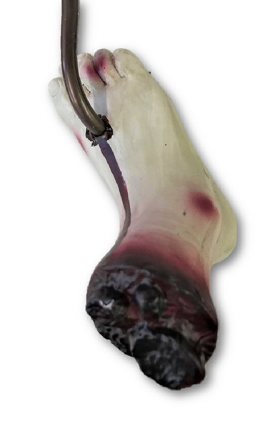 "24"" Meat Hook Severed Bloody Zombie Foot Decoration Halloween Prop Haunted House"