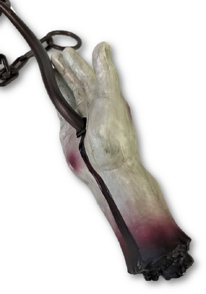"23"" Meat Hook Severed Bloody Zombie Hand Decoration Halloween Prop Haunted House"