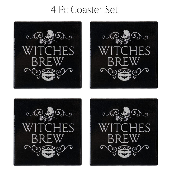 Alchemy of England Witches Brew Coasters Ceramic with Cork Backing Set of 4