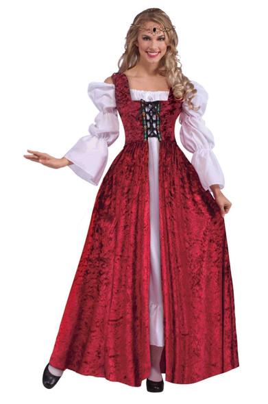 Medieval Lace up Gown Costume Dress Burgundy Velvet Adult Std Women's Halloween