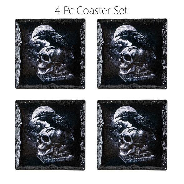 Alchemy of England Poes Raven Slate Coasters Ceramic with Cork Backing Set of 4