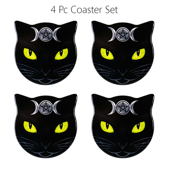 Alchemy of England Triple Moon Cat Coasters Ceramic with Cork Backing Set of 4