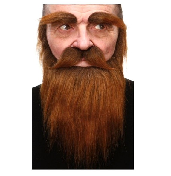 High Quality Brown Mustache Beard Eyebrows Set 3M Self Adhesive Facial Hair Mens