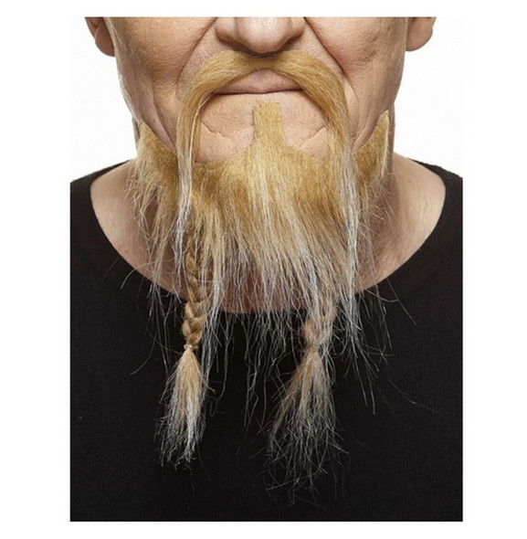 Blonde/White Mustache Braided Beard Set 3M Viking Self Adhesive Facial Hair Mens