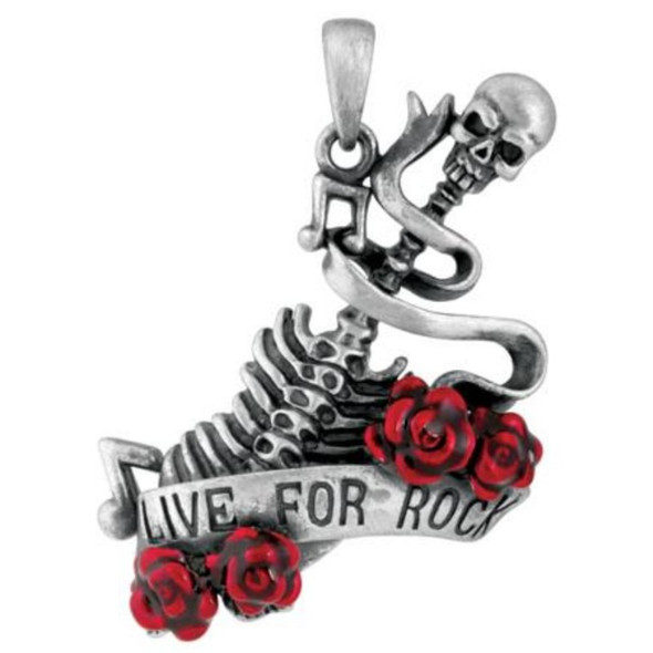 Pacific Giftware Live for Rock n' Roll Skeleton Pewter Pendant Necklace Jewelry