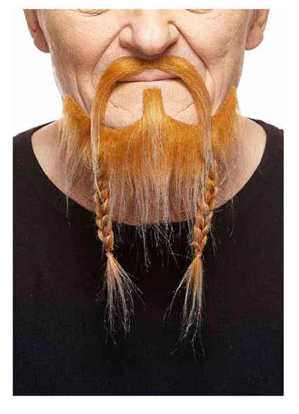 Deluxe Red Mustache Braided Beard Set 3M Viking Self Adhesive Facial Hair Mens
