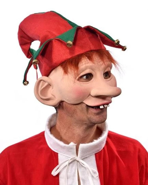 Snowflake The Elf Latex Costume Half Mask Christmas Santa's Helper Adult Men
