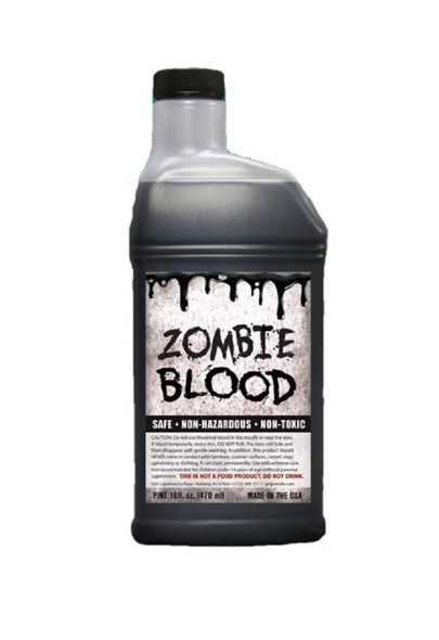 1 Pint Black Zombie Blood Halloween Theatrical Stage Costume Accessory Make-Up