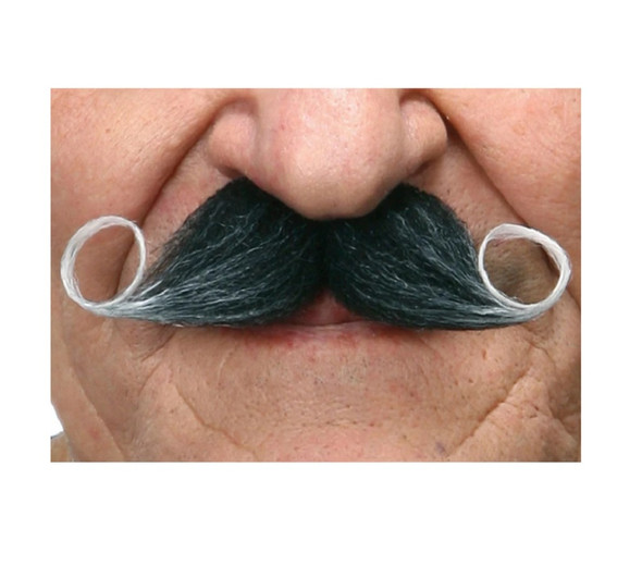 Grey Black Handlebar Mustache Curly Poirot Self Adhesive Facial Hair Mens