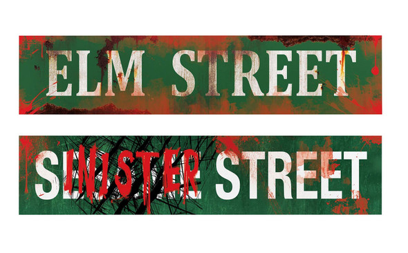 2-pc Metal Street Signs Elm & Sinister Halloween Decoration Haunted House Prop