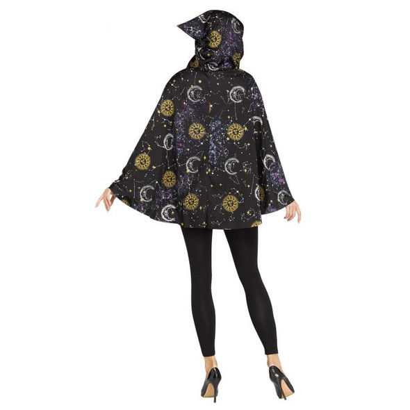 Celestial Hooded Poncho Moon & Stars Adult Women's Costume Accessory