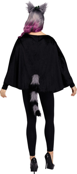 Fantasy Pet Deluxe Raccoon Poncho Hooded Plush Adult Women's Costume One Size