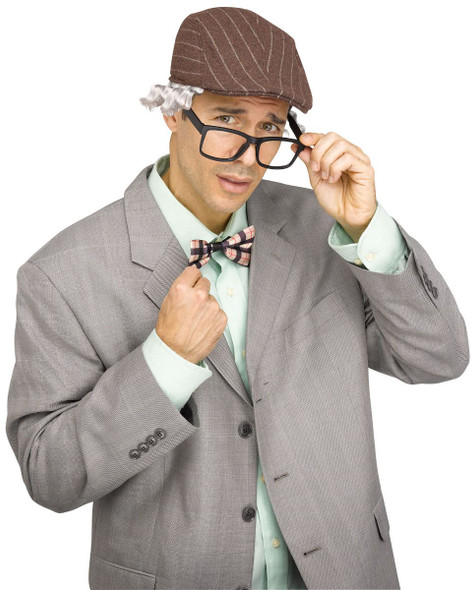Grampy Old Man Kit Hat With Grey Hair Glasses Bowtie Adult Costume Accessory