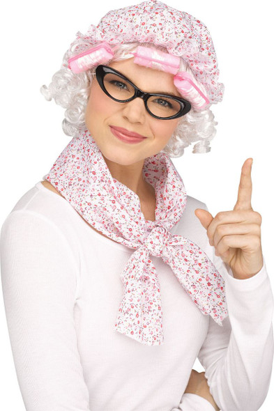 Grammy Kit Mop Cap w/Hair Curlers Glasses Neckerchief Adult Costume Accessory