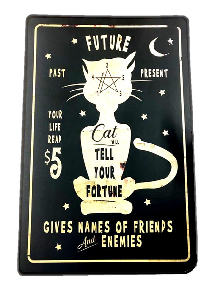 3-pc Metal Funny Cat Wall Art Decoration Signs Halloween Haunted House Decor