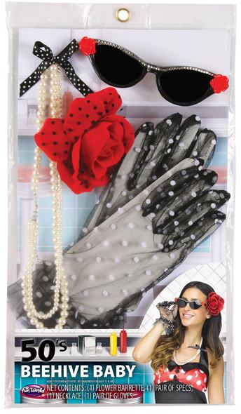 50's Beehive Baby Sock Hop Vintage Pinup Adult Women's Instant Era Costume Kit