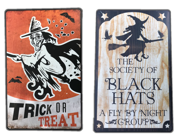 2-pc Metal Funny Witch Wall Art Decoration Signs Halloween Haunted House Decor