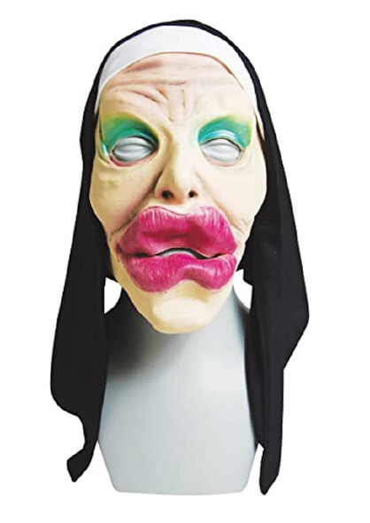 Funny Big Juicy Lips Nun Latex Face Mask Adult Sister Veil