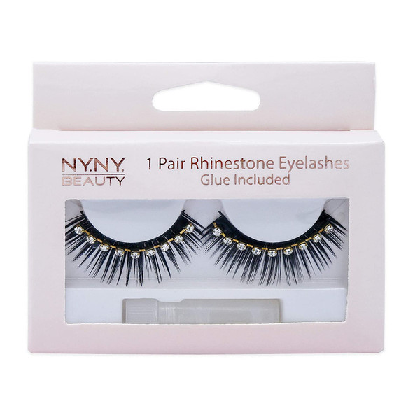 1 Pair NY.NY. Beauty Premium Rhinestone Eyelashes Fake Black Lashes Top False