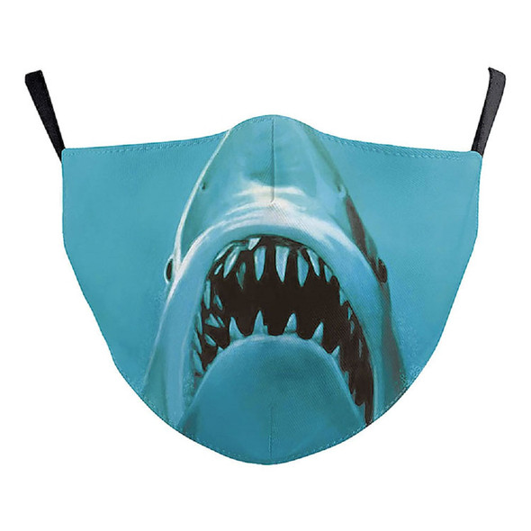 Blue Shark Jaws Mouth Face Covering Non Medical Washable Halloween Adult OS