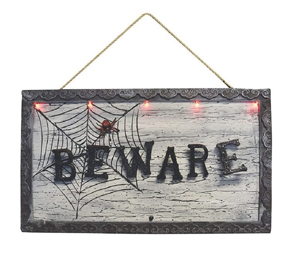 BEWARE Animated Sign w Moving Letters Wall Art Halloween Haunted House Decor