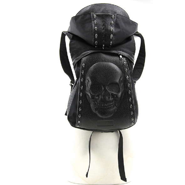 Skeleton Hooded Backpack Metal Studded Spikes & Skulls Punk Goth Accessory