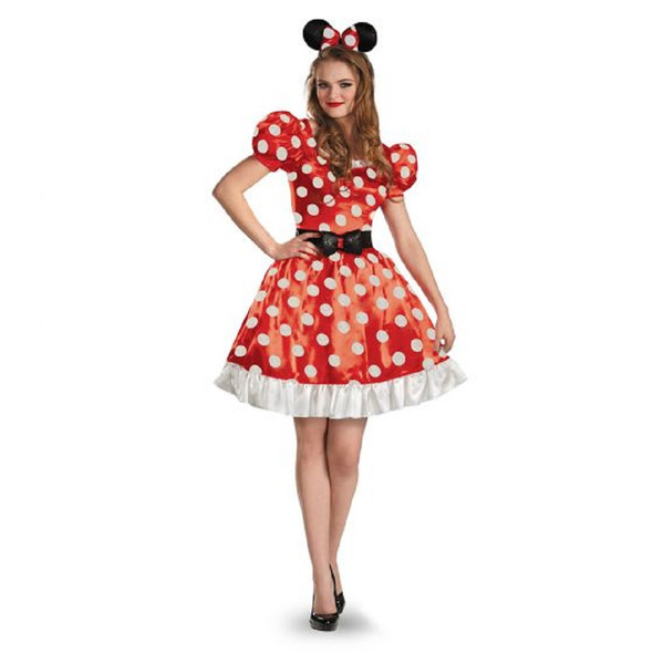 Licensed Disney Minnie Mouse Classic Red Dress Adult Women's Costume SM-XL