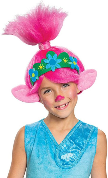 Cute Trolls Poppy Pink Child Wig w Ears Girls Queen Halloween Costume Accessory