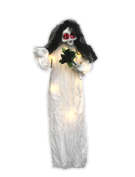 """47"""" Light-Up Hanging Bride Halloween Decoration Prop Corpse Skeleton Scary Ghost"""