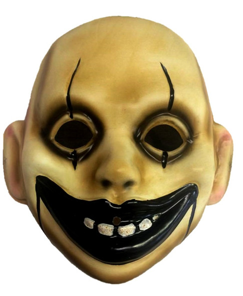 Clown Doll Face Mask Plastic Creepy Smile Scary Halloween Costume Accessory