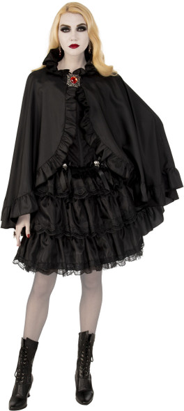 Opus Collection Black Cape w Medallion Halloween Costume Accessory Adult Women