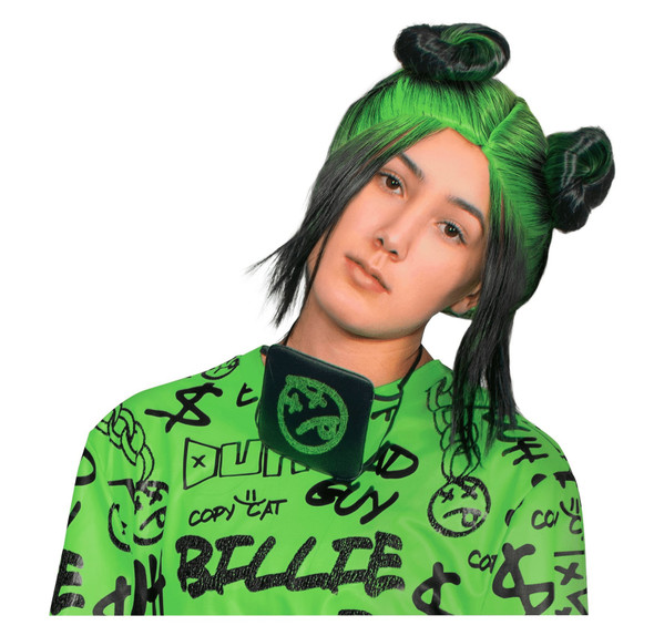 Billie Eilish Green Adult Wig Womens Double Bun Halloween Costume Accessory