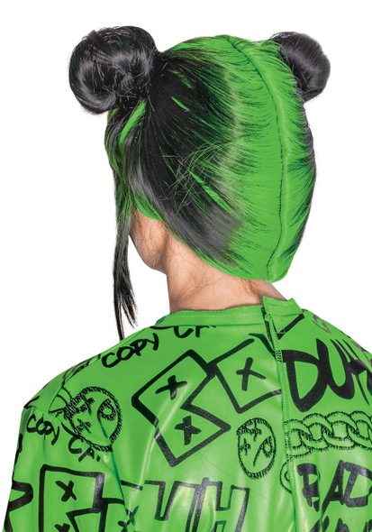 Billie Eilish Green Child Wig Girls Double Bun Halloween Costume Accessory
