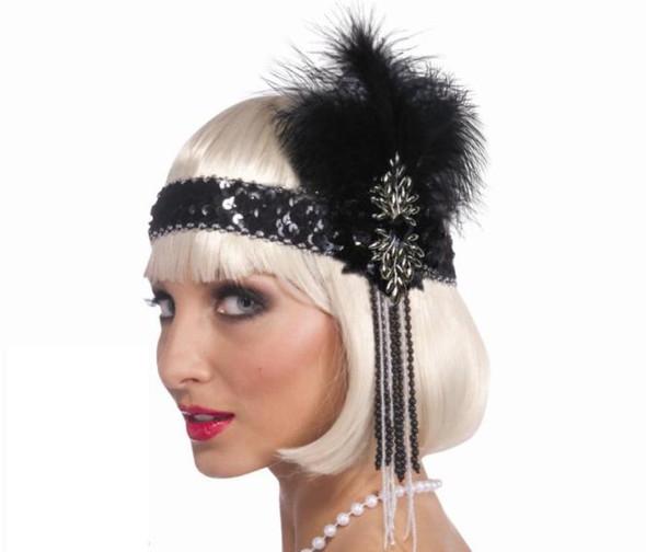 Flapper Headband Roaring 20's Deluxe Adult Costume Prop Black Feather Sequins