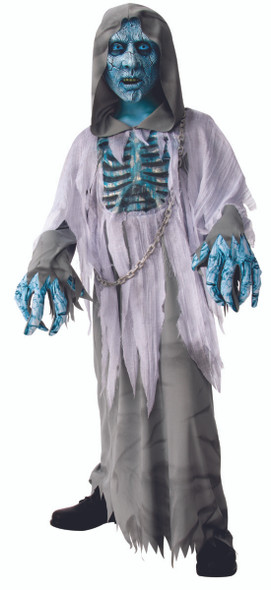White Demon Scary Haunted Ghost Zombie Kids Hooded Halloween Costume MD-LG