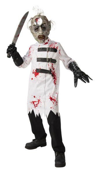 Bloody Surgeon Mad Scientist Lab Coat & Mask Scary Kids Halloween Costume MD-LG