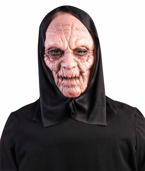 Scary Black Hooded Grim Reaper Mask Latex Halloween Horror Adult Men Women