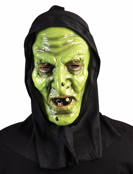 Black Hooded Green Witch Mask Latex Halloween Costume Accessory Adult Men Women