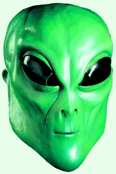 Area 51 Green Latex Mask Alien UFO Space Invader Extra Terrestrial Adult Sci Fi
