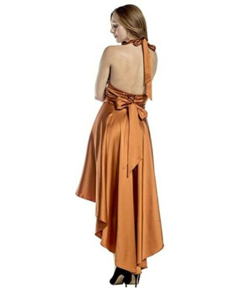 1970's Vintage Style Disco Burnt Orange Costume Fancy Dress Womens XS-XL
