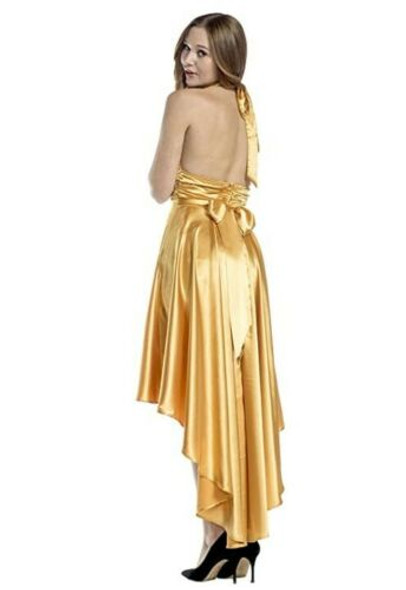 1970's Vintage Style Disco Gold Costume Dancer Fancy Dress Womens XS-XL